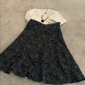 CHICO'S Black/White Circle Skirt